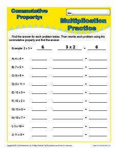 Multiplication Commutative Property Worksheets For 3rd Grade Commutative Property Commutative Kids Math Worksheets