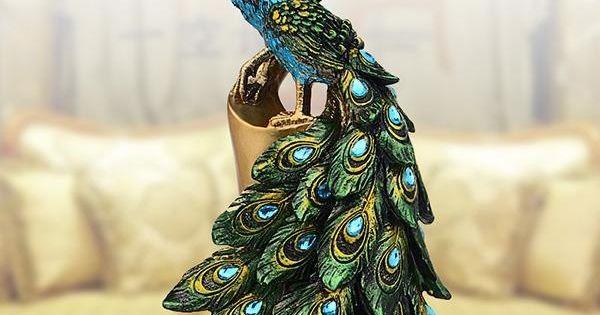 Two Beautiful Resin Ethnic Minority Style Peacock Desktop