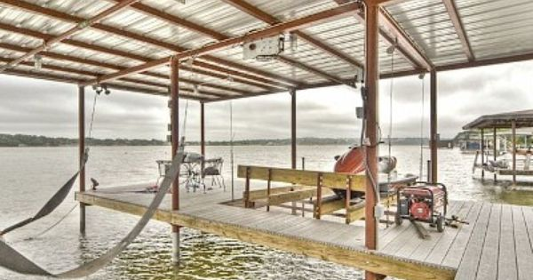 Covered Dock With Boat Lift And Double Jet Ski Lift Lakefront Living House Lift Water House