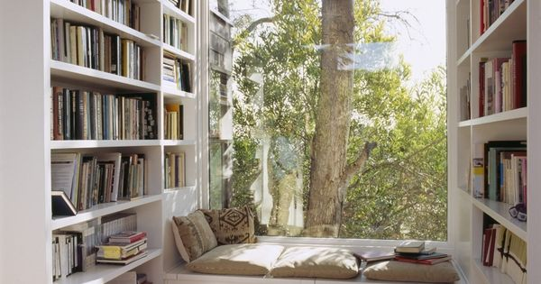 Perfect reading nook, library books, window seat, reading area, home library