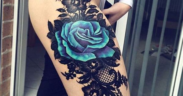 black lace blue rose tattoos pinterest blaue rosen. Black Bedroom Furniture Sets. Home Design Ideas