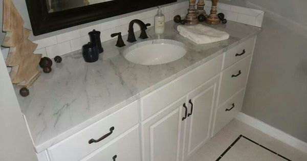 Buy Feiss Clayton 4 Light Bath Vanity Fixture In Oil: New Marble Top And Vanity With White Subway Tile