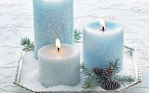 Basic Epsom salts give blue candles an icy charm. Finish the scene