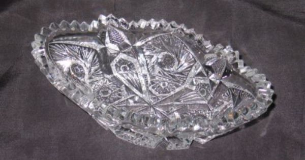 Vintage Eapg Oval Bowl Sawtooth Edge Buttons Panels Pinwheels Crystal Bowl Collectible Glass