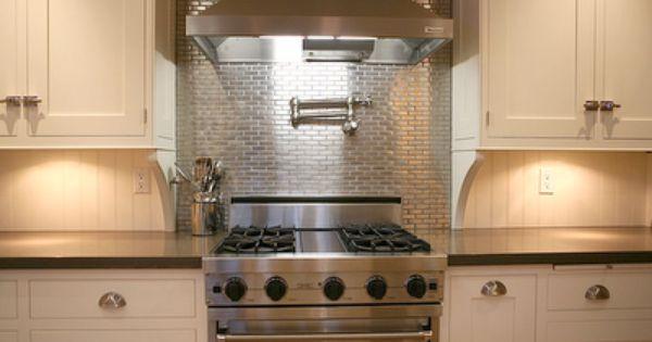 Stainless Steel Mosaic 1x3 Stainless Backsplash Stove
