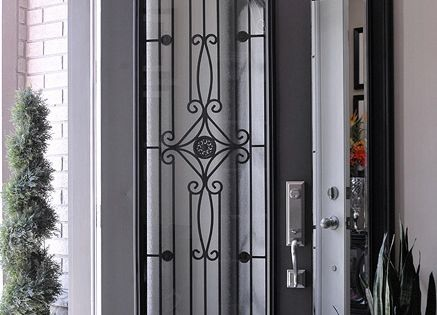 Timber And Wrought Iron Front Entry Door Idea