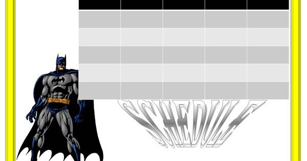 Batman Free Weekly Calendar Template Weekly Calendar For