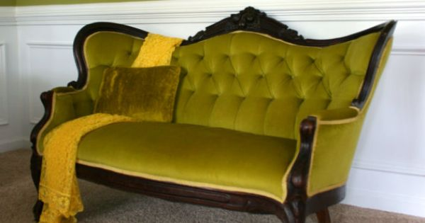 Antique victorian sofa settee moss avocado green button for Button tufted velvet chaise settee green