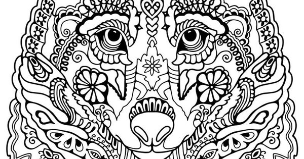 Advanced Wolf Coloring Pages : Wolf abstract doodle zentangle coloring pages colouring