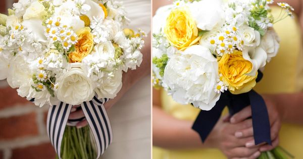 I love these bouquets - Bride and Maid of Honor, pale yellow, white and ivory with navy blue and stripped ribbon.  Flowers by : Steven Bruce Design  Photos by: Kim Coccagnia
