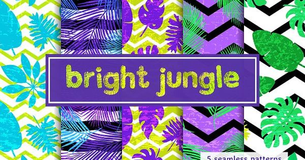 Bright jungle – bright seamless patterns with tropical leaf