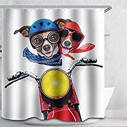 Waylongplus Dog Ride Motorcycle Shower Curtain Waterproof Pongee Decorative Bath Curtain Cool Shower Curtains Fabric Shower Curtains Bathroom Shower Curtains