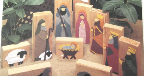nativity craft pattern  using wood blocks and felt  10 pages  childrens nativity  leisure arts
