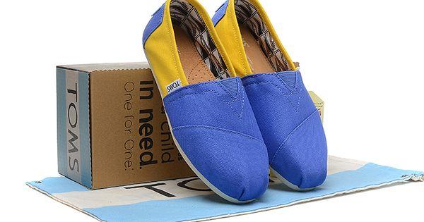 Toms Womens Color Block University Camp Shoes Blue Yellow