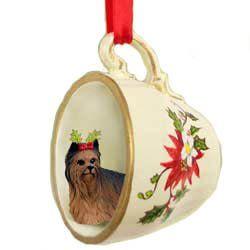 Yorkie Christmas Teacup Ornament
