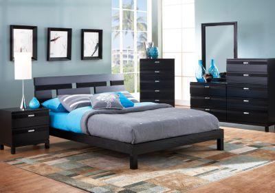 Gardenia Black 5 Pc Queen Platform Bedroom King Size
