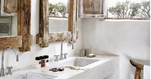 Ba os de obra y microcemento r stico madera r stica y for Espejos de bano rusticos de madera