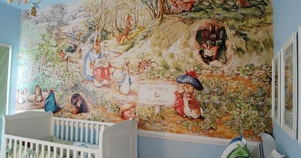 For the nursery beatrix potter mural once in a blue for Blue moon mural