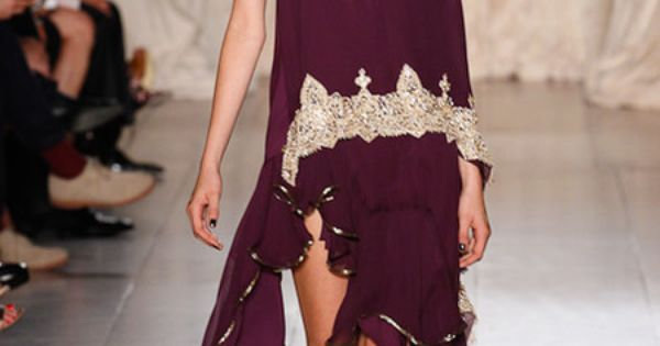 Marchesa Spring 2013 RTW: One shoulder tunic dress in wine/gold, with shockingly