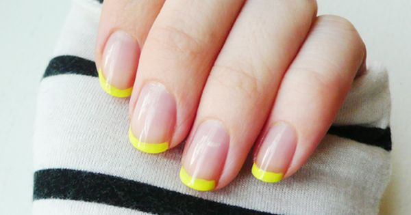 """A classic Twist of nailart. Fuorescent + nude """"french"""" manicure."""