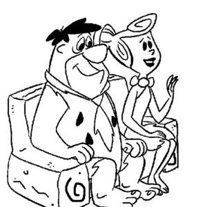 Fred And Wilma Sitting On The Couch In The Flintstones Coloring