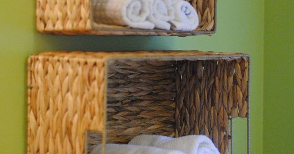 bathroom storage ideas | Basket towel storage design ideas for small bathroom