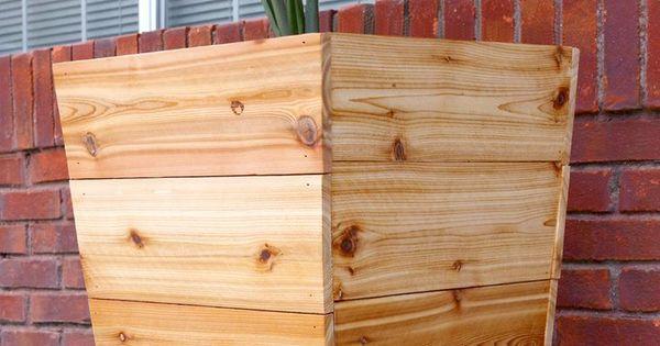 How to build a diy tapered cedar planter modern cedar for Tapered planter box plans