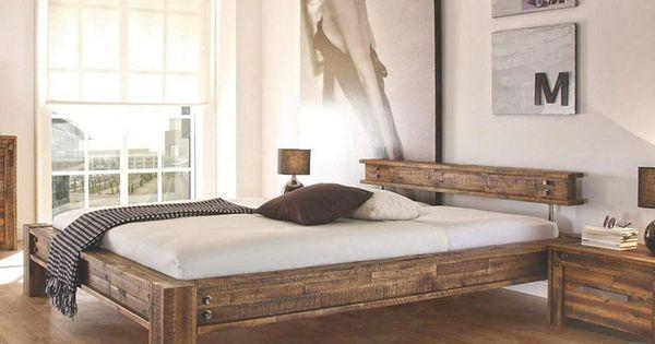 Dunkelbraunes Holzernes Doppelbett Holzbett Bett Haus Deko