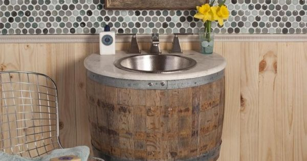 18 useful diy ideas how to use old wine barrel recycled for Recycled bathroom sinks