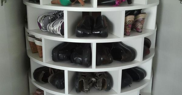 {lazy susan shoe rack. fantastic use of space}