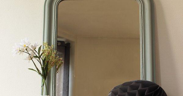 Miroir ancien style louis philippe vert amande id er for Miroir louis philippe