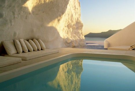 Katikies The Hotel in Oia Santorini, is perched on the Caldera cliffs,