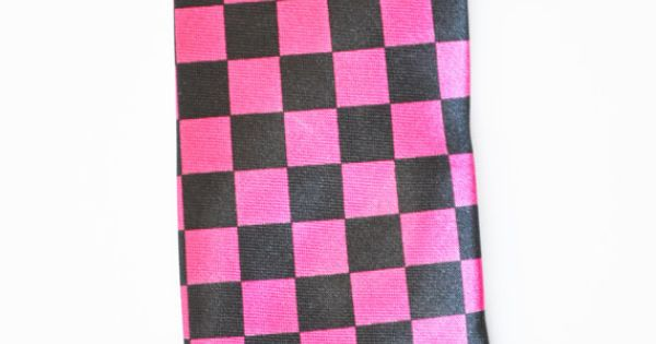 Mens Tie Black and Pink Checker Board Pattern by TiestheKnot, $8.99