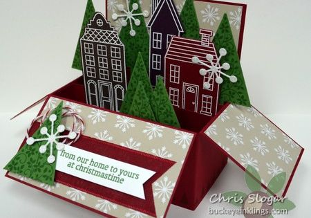 Chris' fabulous box card: Holiday Home & its framelits, Festival of Trees,