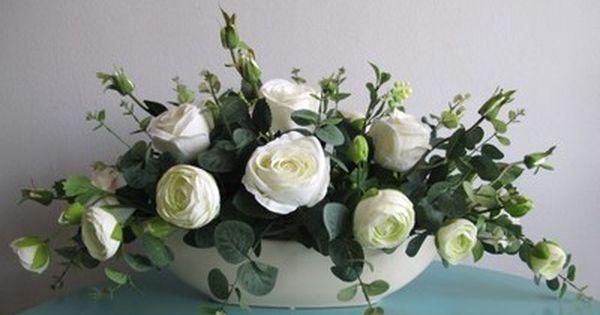 Sztuczne Kwiaty Kompozycje Kwiatowe Biale Roze Flower Vase Arrangements Floral Art Flower Arrangements