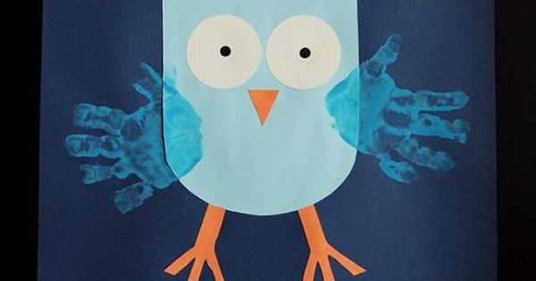 Hand print owl craft for kids