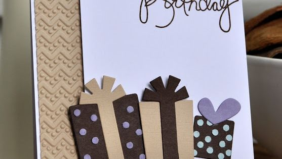 Brown, tan and white make great colors for a handmade birthday card