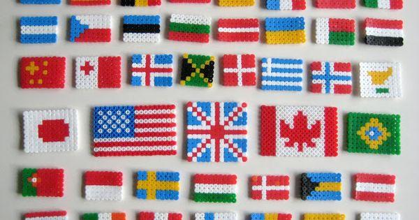 vlaggen maken strijkkralen reis rond de wereld