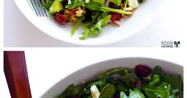 Grape, Avocado Arugula Salad -- this simple salad is fresh, light, and