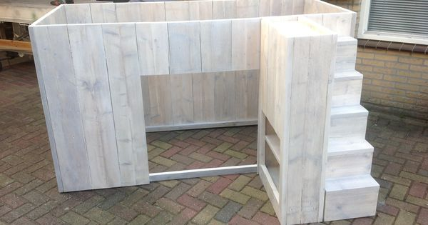 Halfhoogslaper model denthen hens steigerhouten meubels pinterest model kinderbed en - Kinderkamer model ...