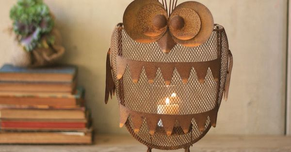 Rustic Iron Owl Candle Lantern... decor candle holders