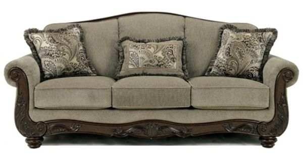 Signature Design By Ashley Fresco Traditional Camel Back Sofa With Exposed Wood Trim Rotmans
