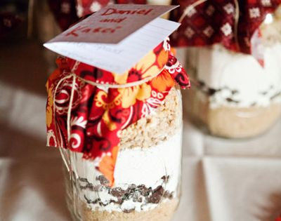 Love this favor idea! chocolate chip cookies? Fabric is hideous but that's