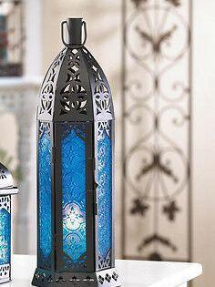 Black Blue Moroccan 13 Tall Thin Slender Candle Holder Lantern Outdoor Wedding Ebay In 2020 Lantern Candle Holders Moroccan Lanterns Candle Lanterns