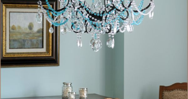 Wall color light fixture for the home dining room for Light blue dining room ideas