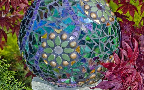 Beautiful Gazing Ball made from repurposed bowling ball, mirror & glass, tiles,