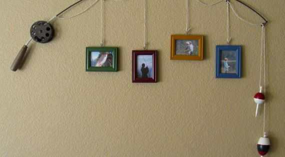 Fishing Pole Picture Frame ~ great idea for the cabin, lake house,