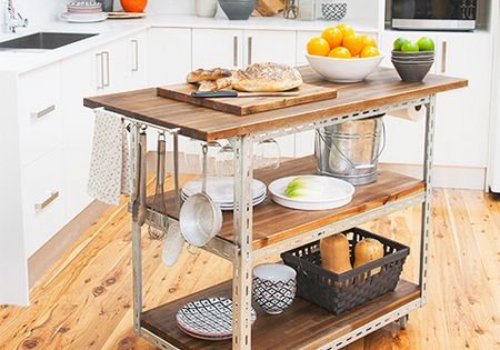 kitchen island with shelves diy mobile kitchen island or workstation steel shelving 5224
