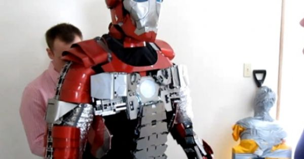 Real life 'Iron Man' armor that folds up into a suitcase **kinda**
