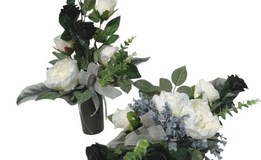 Kup Teraz Na Allegro Pl Za 119 00 Zl Komplet Na Grob Kompozycja Kwiatowa Stroik 161 7564063553 Allegro Pl Funeral Floral Grave Decorations Floral Wreath
